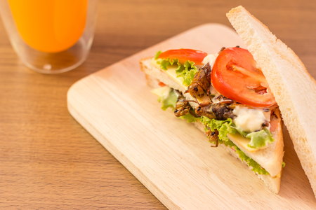 tomato caterpillar: Sandwich made of fried insect meat and mozzarella cheese, mayonnaise and tomato, lettuce with orange juice presented on a wooden board.