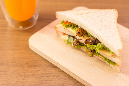 mealworm: Sandwich made of fried insect meat and mozzarella cheese, mayonnaise and tomato, lettuce with orange juice presented on a wooden board.