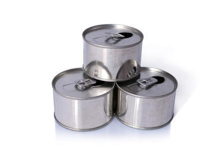 Tin Cans, Close-up various metal tin can with blank, Ring opened isolated on white background with shadow. Include clipping path in both object.