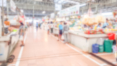 Abstract blurred supermarket - Blurred background of colorful and freshness modern retail, department store or retail store in shopping mall interior for a background, Shopping concept.