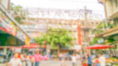 Description: Abstract blur market - Abstract blurred for the people along walking on the narrow street at the morning market.