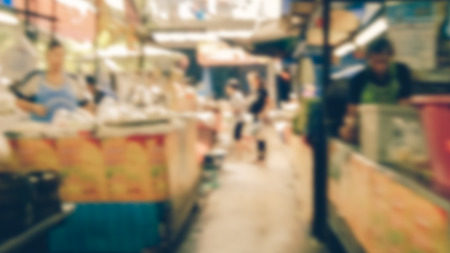 Abstract blur market - Abstract blurred for the people along walking on the narrow street at the morning market. Vintage-style. Stock Photo - 98427838