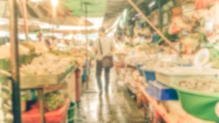 Abstract blur market - Abstract blurred for the people along walking on the narrow street at the morning market. Vintage-style.