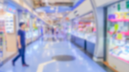 Abstract blurred department store - Blurred background of colorful and freshness modern retail, department store or retail store in shopping mall interior for a background, Shopping concept. Stock Photo - 98427841