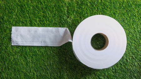Toilet Paper - Toilet Paper or Toilet Rolls with an artificial grass texture background. Selective focus. Stock Photo