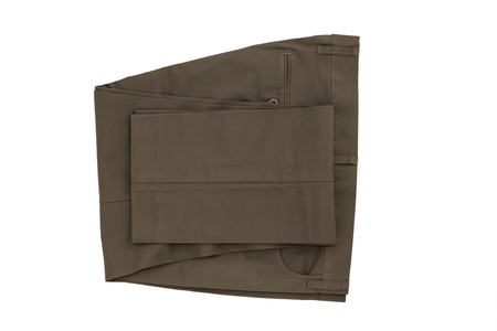 Gray folded trousers - New folded trousers fashion with tag price isolated on white background. Lifestyle and fashion concept.  File including clipping path.