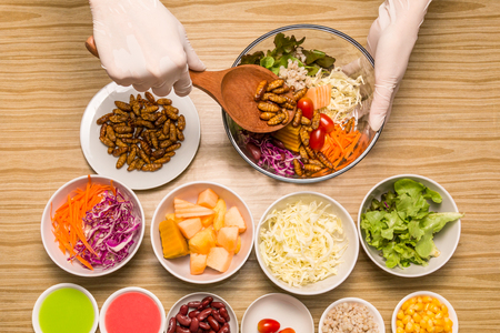 Fresh vegetable salad with insects - Human female hands cooking vegetable salad with worm insects in the kitchen on a wooden table. Healthy meal high protein diet concept. Top view. Selective focus.