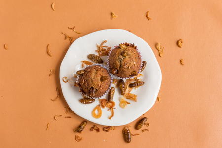 Banana cupcakes with insect - Banana cupcakes with worm insect and crispy shallots fried on orange tablecloth background. Healthy meal high protein diet concept. Top view, Selective focus. Stock Photo