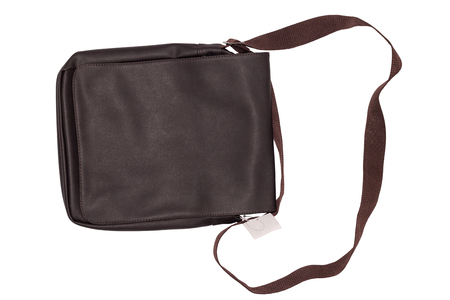 Leather bag - Small brown leather bag or shoulder bag with tag price for man isolated on white background. Lifestyle and fashion concept.  File including clipping path.
