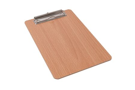 Wooden blank clipboard isolated on white background. Selective focus. Imagens