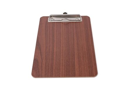 Wooden blank clipboard isolated on white background. Selective focus. Zdjęcie Seryjne