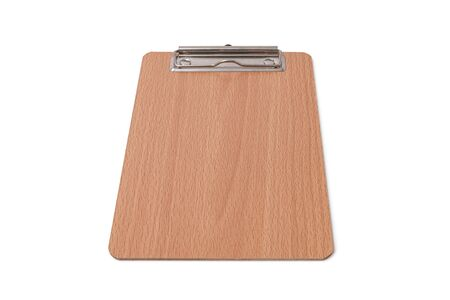 Wooden blank clipboard isolated on white background. Selective focus. Zdjęcie Seryjne - 129546713