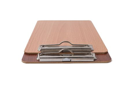 Wooden blank clipboard isolated on white background. Selective focus. Zdjęcie Seryjne - 129545768