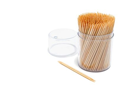 Toothpicks isolated on white background. Made with natural bamboo. Selective focus. Zdjęcie Seryjne