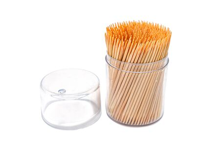 Toothpicks isolated on white background. Made with natural bamboo for home, restaurant or hotel products. Zdjęcie Seryjne