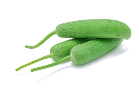 Luffa, Natural sponge vegetables or Sponge gourd isolated on white background with clipping path. Selective focus.