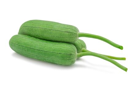 Gourd,  Luffa, Sponge gourd or Vegetable sponge isolated on white background with clipping path. Selective focus.