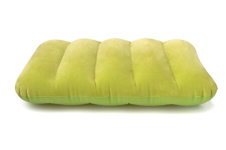 Green inflatable pillow isolated on a white background  . Decoration design, Holidays concept.