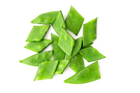Organic snow peas, isolated on white background. Top view.