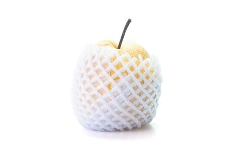 Chinese pear or Korean pear fruit with foam sleeve net isolated on white background