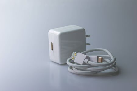 Mobile Phone Charger and USB Type-C Cable for the smartphone on a gray background.