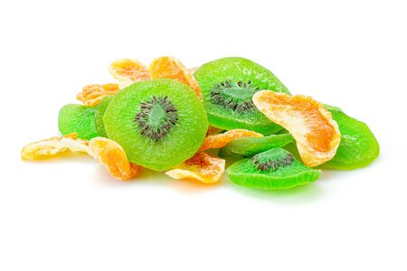 Fruit drying, Pile of dried tropical Orange and KIWI fruits isolated on the white background. Stock Photo