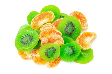 Fruit drying, Pile of dried tropical Orange and KIWI fruits isolated on the white background. Top view Stock Photo