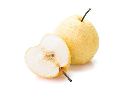 Chinese pear, (Asian pear, Korean fruit, Nashi) isolated on white background. Inclouding clipping path. Stock Photo