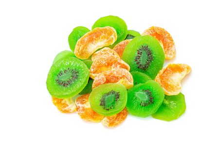 Fruit drying, Pile of dried tropical KIWI and Orange fruits isolated on the white background. Top view