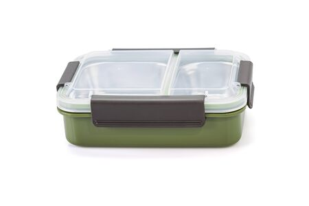 Food boxes, Stainless steel portable lunch box with leak-proof container for kids school food Stock Photo
