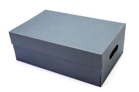 Gray clardboard box isolated on white background in clouding cliping path. Stock Photo