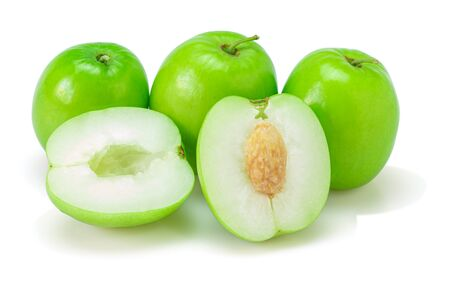 Fresh green jujube fruits, Delicious  jujube fruits  on white background. The file includes a   easy to use. Close-up.