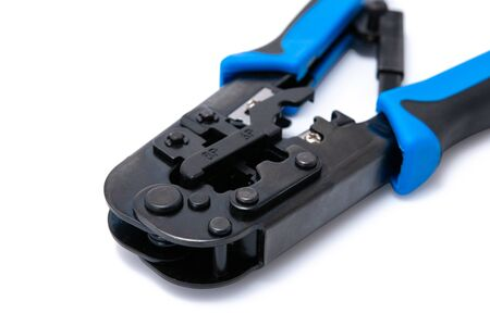 Network cable installation crimping tool, Ethernet connector for pass through with isolated on white background.