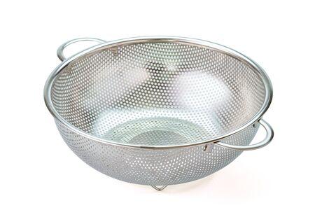 Metal kitchen utensils, Stainless steel colander on white