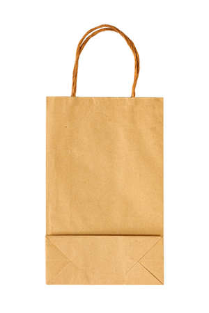 Paper bag for takeaway with isolated on a white background. Packaging template mock up for design. Delivery service concept.
