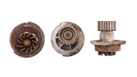 Old water pump dismounted from vehicle engine cooling system . concept of Spare Parts and Repair Services for car engine.