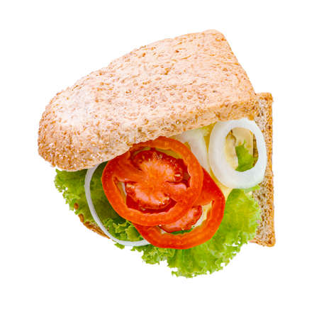 Close-up Sandwich bread with Cheese, Ham, Tomato, Salad, Onion isolated on white background. Top View.