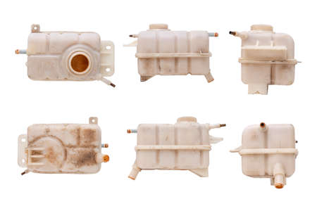 Engine cooling, Set of Car coolant reservoir spare tank isolated on white background with clipping path.
