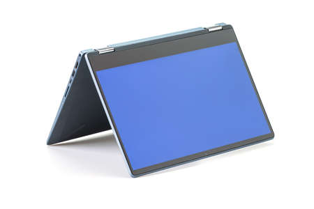 Modern laptop with blue screen isolated on white background.
