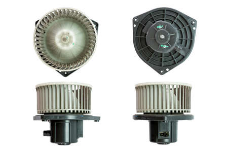 Air car blower motor isolated on white background. Car spare parts. Stock Photo