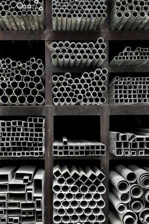 aluminum: Extruded aluminum metal tubes, Hue, Vietnam Stock Photo