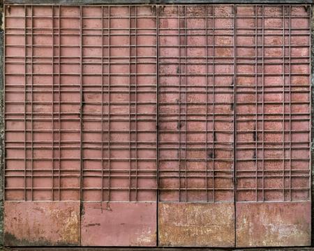 magenta: Magenta grungy metal gate, Yangon, Myanmar Stock Photo