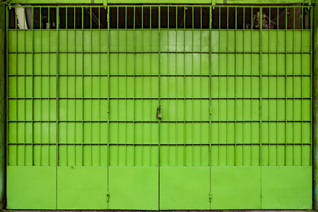 metal gate: Green metal gate, Yangon, Myanmar