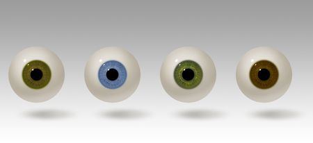 small group of objects: Four realistic raster illustrations of the human eye. Eyeball colors include hazel, blue, green and brown. The eyes are lit from above and cast a shadow. Eye balls are easy to isolate.