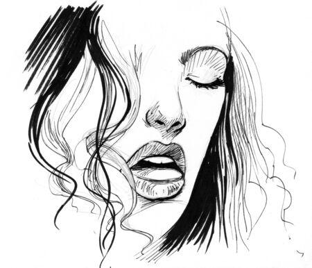 Sexy illustratie portret van een jonge vrouwelijke Stockfoto - 4497075