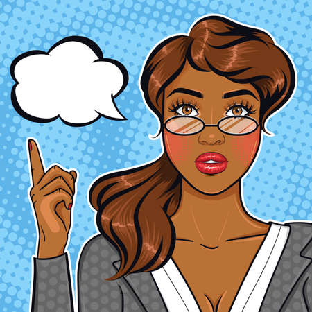 Pop art african american businesswoman in glasses pointing finger on speach bubble for your offer or announcement, cartoon business lady advising concept in retro comic style