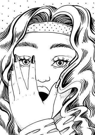 Scared woman face with hand closing open mouth, black and white line art in pop art retro comic style