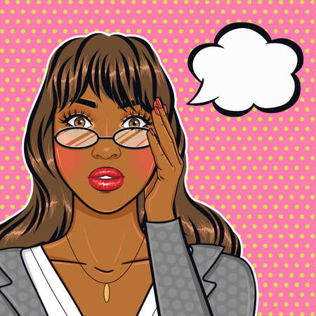 Pop art sad african american businesswoman in glasses holding her head portrait in retro comic style, stressed office woman face Vector Illustratie