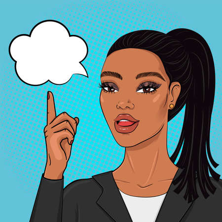 Pop art african american buiseness woman pointing finger on speech bubble, vector illustration in retro comic style Vektorové ilustrace
