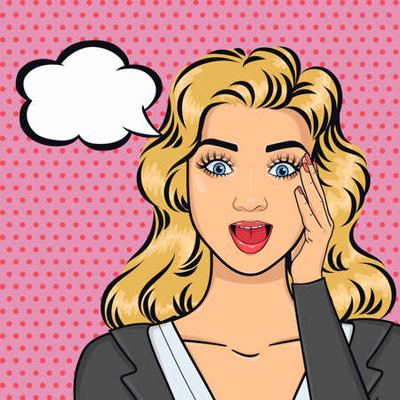 Pop art attractive business woman staring with open mouth and holding her had, good business news concept, vector illustration in retro comic style
